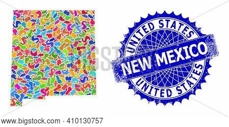 New Mexico State Map Vector Image. Splash Mosaic And Distress Stamp Seal For New Mexico State Map. S
