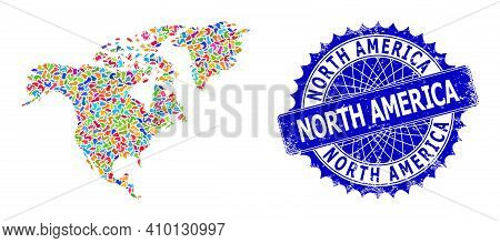 North America Map Vector Image. Blot Collage And Unclean Stamp Seal For North America Map. Sharp Ros