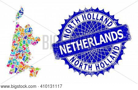North Holland Map Vector Image. Blot Collage And Distress Mark For North Holland Map. Sharp Rosette