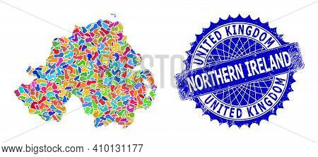 Northern Ireland Map Vector Image. Splash Collage And Scratched Stamp Seal For Northern Ireland Map.