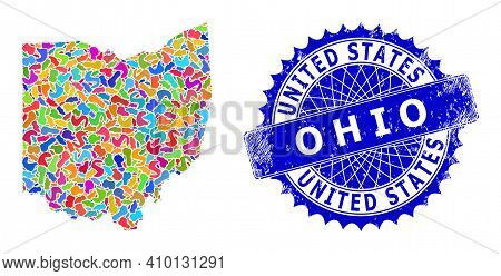 Ohio State Map Abstraction. Spot Pattern And Corroded Seal For Ohio State Map. Sharp Rosette Blue Se