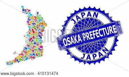 Osaka Prefecture Map Vector Image. Blot Mosaic And Grunge Stamp Seal For Osaka Prefecture Map. Sharp