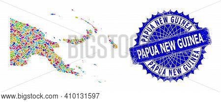 Papua New Guinea Map Abstraction. Spot Collage And Grunge Seal For Papua New Guinea Map. Sharp Roset