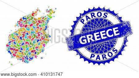 Paros Island Map Vector Image. Spot Pattern And Rubber Stamp For Paros Island Map. Sharp Rosette Blu