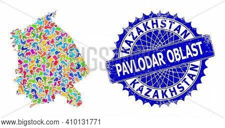 Pavlodar Region Map Template. Splash Mosaic And Rubber Stamp For Pavlodar Region Map. Sharp Rosette