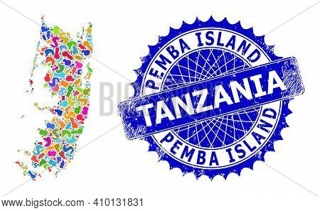 Pemba Island Map Template. Spot Collage And Scratched Stamp Seal For Pemba Island Map. Sharp Rosette