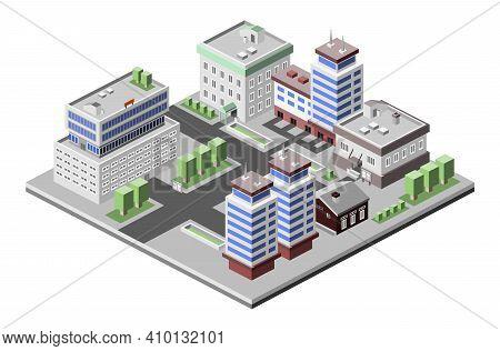 Business Center Modern 3d Urban City Office Buildings Decorative Icons Set Isometric Vector Illustra