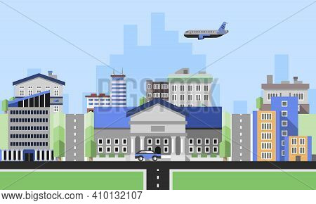Office Buildings Background With Business Corporate City Center Houses Flat Background Vector Illust