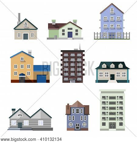 Residential House Dwelling Flat Buildings Real Estate Decorative Icons Set Isolated Vector Illustrat