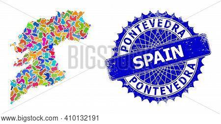 Pontevedra Province Map Vector Image. Blot Mosaic And Rubber Stamp Seal For Pontevedra Province Map.
