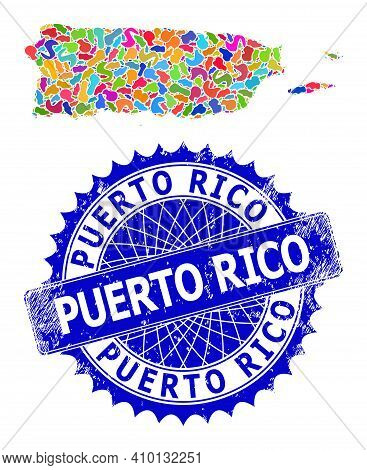 Puerto Rico Map Abstraction. Splash Mosaic And Distress Badge For Puerto Rico Map. Sharp Rosette Blu