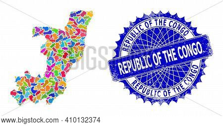 Republic Of The Congo Map Vector Image. Spot Collage And Corroded Seal For Republic Of The Congo Map