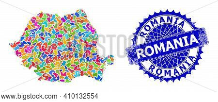 Romania Map Flat Illustration. Blot Collage And Unclean Mark For Romania Map. Sharp Rosette Blue Bad