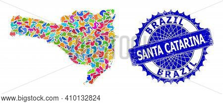 Santa Catarina State Map Vector Image. Splash Pattern And Scratched Stamp Seal For Santa Catarina St