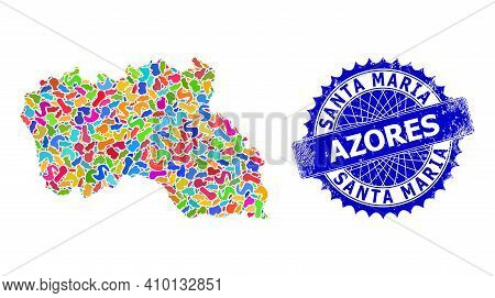 Santa Maria Island Map Abstraction. Spot Collage And Rubber Stamp Seal For Santa Maria Island Map. S