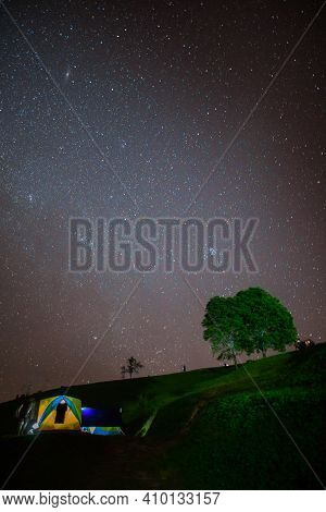 Milky Way And Star At Night Time