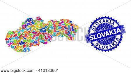 Slovakia Map Flat Illustration. Blot Mosaic And Rubber Mark For Slovakia Map. Sharp Rosette Blue Mar