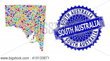 South Australia Map Template. Splash Mosaic And Grunge Stamp Seal For South Australia Map. Sharp Ros