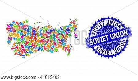 Soviet Union Map Template. Splash Mosaic And Distress Seal For Soviet Union Map. Sharp Rosette Blue