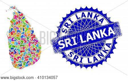 Sri Lanka Map Vector Image. Spot Collage And Corroded Seal For Sri Lanka Map. Sharp Rosette Blue Sea