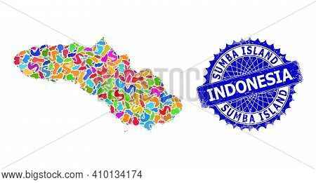 Sumba Island Map Abstraction. Splash Pattern And Grunge Stamp For Sumba Island Map. Sharp Rosette Bl