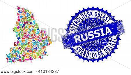 Sverdlovsk Region Map Template. Blot Collage And Unclean Seal For Sverdlovsk Region Map. Sharp Roset