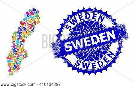 Sweden Map Vector Image. Blot Pattern And Grunge Stamp Seal For Sweden Map. Sharp Rosette Blue Seal