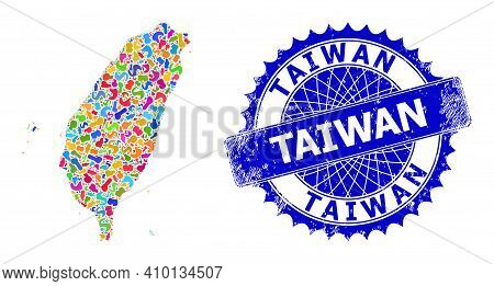 Taiwan Map Vector Image. Blot Collage And Grunge Badge For Taiwan Map. Sharp Rosette Blue Badge With