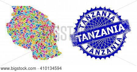 Tanzania Map Flat Illustration. Spot Collage And Rubber Seal For Tanzania Map. Sharp Rosette Blue St