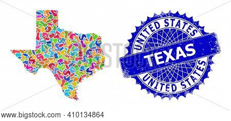 Texas State Map Template. Splash Mosaic And Corroded Stamp For Texas State Map. Sharp Rosette Blue S