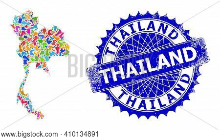 Thailand Map Abstraction. Spot Collage And Grunge Stamp Seal For Thailand Map. Sharp Rosette Blue St