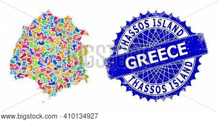 Thassos Island Map Vector Image. Blot Collage And Distress Stamp Seal For Thassos Island Map. Sharp