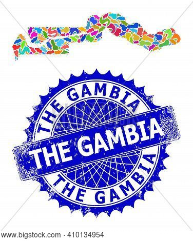 The Gambia Map Vector Image. Splash Collage And Rubber Stamp For The Gambia Map. Sharp Rosette Blue