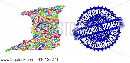 Trinidad Island Map Flat Illustration. Spot Pattern And Scratched Seal For Trinidad Island Map. Shar