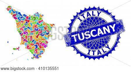 Tuscany Region Map Flat Illustration. Splash Collage And Distress Watermark For Tuscany Region Map.