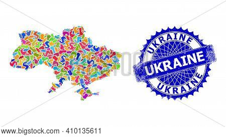 Ukraine Map Flat Illustration. Blot Collage And Scratched Seal For Ukraine Map. Sharp Rosette Blue S