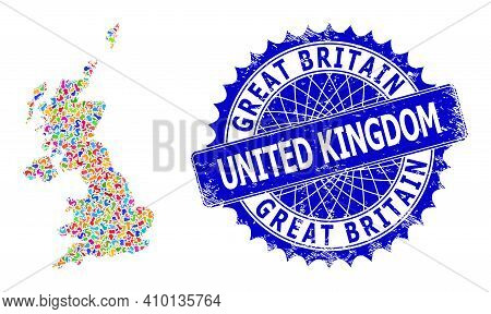 United Kingdom Map Abstraction. Splash Mosaic And Corroded Stamp Seal For United Kingdom Map. Sharp