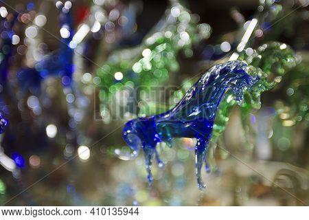 Algaida Es Pla, Majorca / Spain - August 25, 2016: A Colorful Horse Created At Handmade Glass Manufa