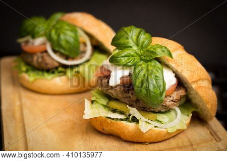 Hamburgers On The Table : The Food With Green Veg