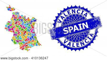 Valencia Province Map Abstraction. Blot Pattern And Corroded Stamp For Valencia Province Map. Sharp