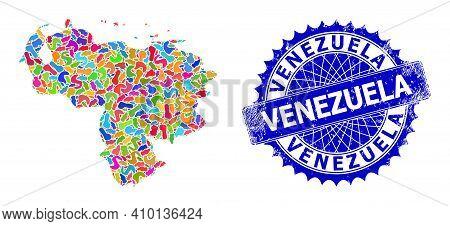 Venezuela Map Abstraction. Blot Collage And Distress Mark For Venezuela Map. Sharp Rosette Blue Mark