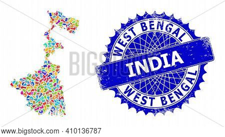 West Bengal State Map Template. Spot Mosaic And Unclean Mark For West Bengal State Map. Sharp Rosett