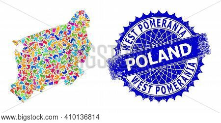 West Pomeranian Voivodeship Map Vector Image. Spot Collage And Unclean Seal For West Pomeranian Voiv