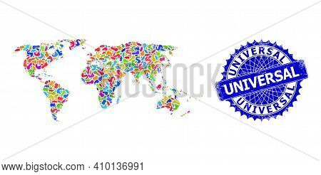 World Map Abstraction. Blot Pattern And Corroded Seal For World Map. Sharp Rosette Blue Seal With Ta