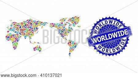 World Map Vector Image. Spot Pattern And Rubber Stamp Seal For World Map. Sharp Rosette Blue Stamp S