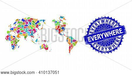 Worldwide Map Template. Blot Pattern And Unclean Mark For Worldwide Map. Sharp Rosette Blue Mark Wit