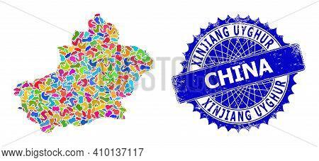 Xinjiang Uyghur Region Map Vector Image. Splash Pattern And Unclean Stamp Seal For Xinjiang Uyghur R