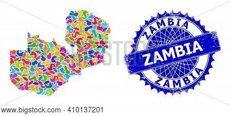 Zambia Map Flat Illustration. Splash Mosaic And Distress Stamp Seal For Zambia Map. Sharp Rosette Bl