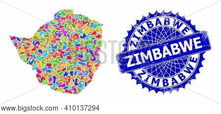 Zimbabwe Map Vector Image. Splash Collage And Rubber Stamp Seal For Zimbabwe Map. Sharp Rosette Blue