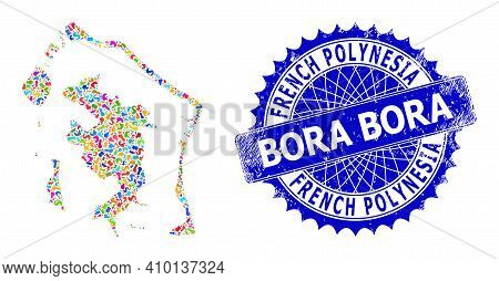 Bora-bora Map Abstraction. Spot Collage And Unclean Stamp For Bora-bora Map. Sharp Rosette Blue Stam